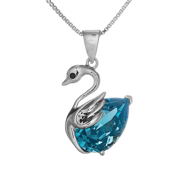 Swan Clear Blue Sparkling Crystal Necklace in Sterling Silver