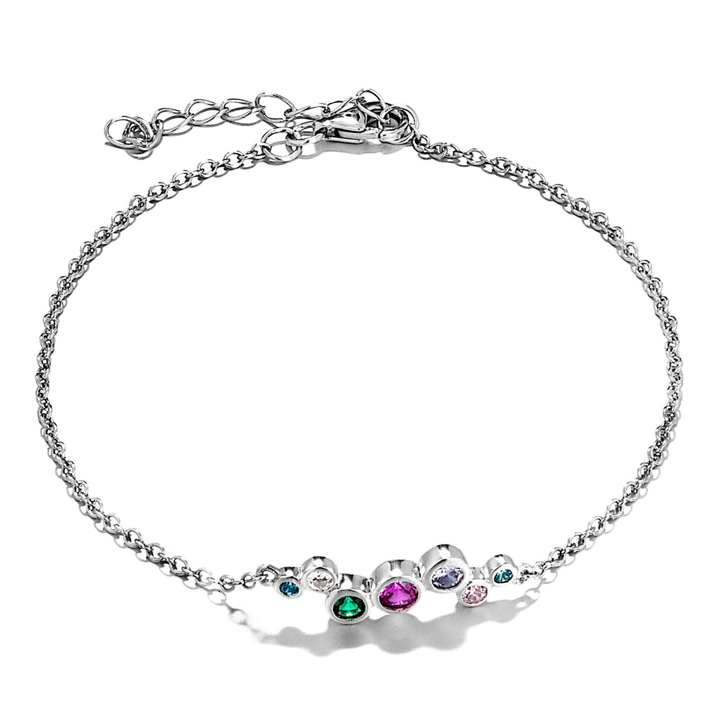 Unique Multicolor, Blue, Pink Purple Green&Clear Crystal Bracelet In Sterling Silver