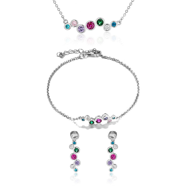 Multicolored Water Drop Crystal Drop Earrings, Bracelet & Necklace Set in Sterling Silver