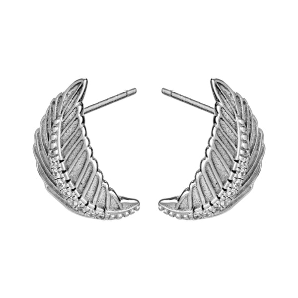 Feather Swirl Sterling Silver Stud Earrings