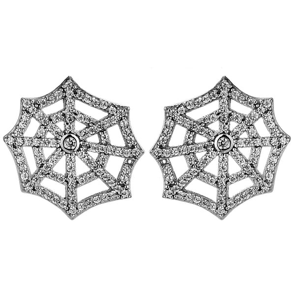 Irregular Shaped Spider Web Stud Earrings in Sterling Silver