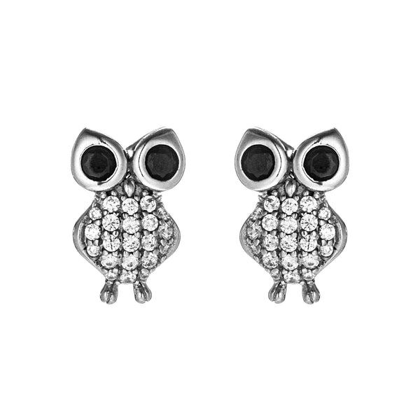Cute Little Owl Friend Kids Children Stud Earrings in Sterling Silver