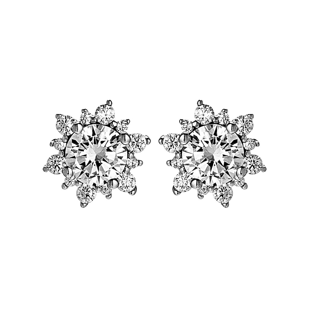 Sparkling Rays of Sun Flower Stud Earrings in Sterling Silver
