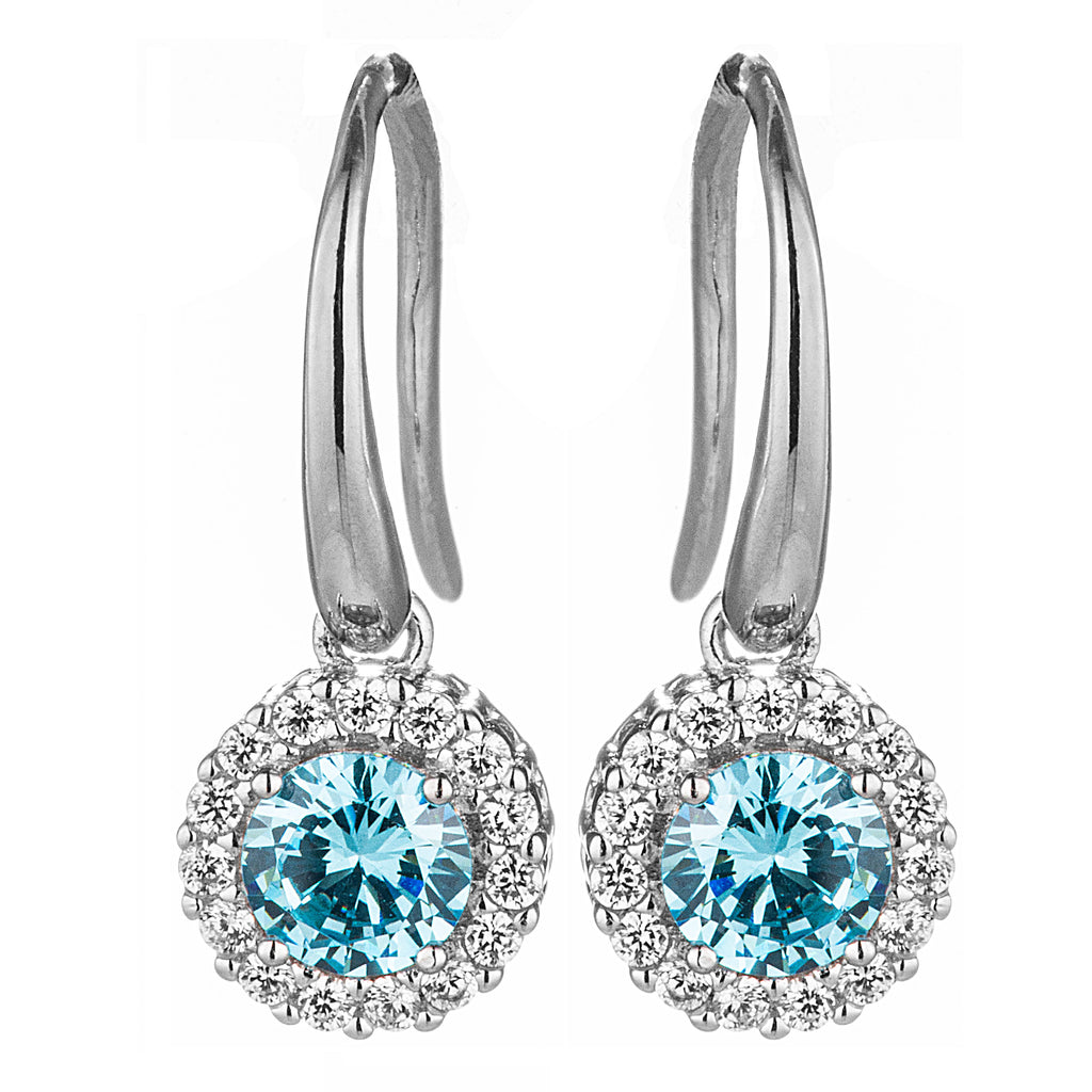 Aqua Blue Gem Round Crystal Earring in Sterling Silver