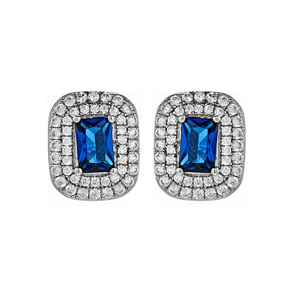 Sparkling Sapphire Blue Cut Crystal Stud Earrings in Sterling Silver