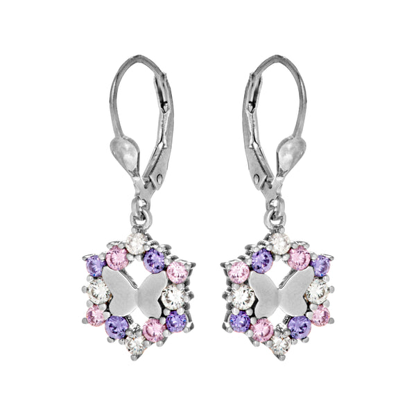 Charming Butterfly, Floral Earrings with Multicolor, Purple, Pink & Clear Crystal In Sterling Silver