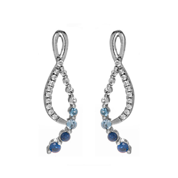 Abstract Art Swirl Blue Drop Earrings in Sterling Silver