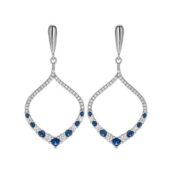 Water Drop Dazzling Blue Clear Crystal Drop Earrings in Sterling Silver