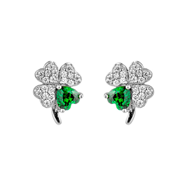 Lucky Clover Stud Earrings with Emerald Green Crystal in Sterling Silver