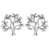 Lively Flower Tree Stud Earrings in Sterling Silver