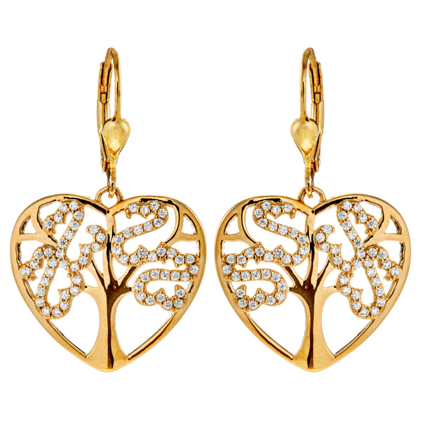 Gold Plated Love Heart with Virtual Tree Earrings with Lever Back