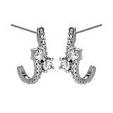 Half Hoop Double Stone Sterling Silver Stud Earrings with Clear Crystal