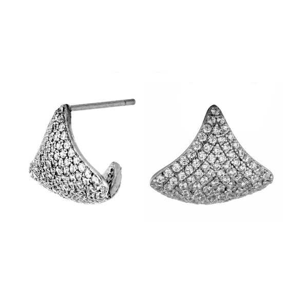 Diamond Shaped Swirl Stud Earrings in Sterling Silver