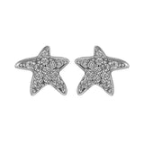 Petite Starfish Crystal Stud Earrings in Sterling Silver