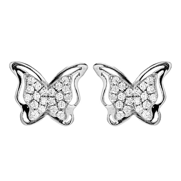 Double Hollow Cut Butterfly Kids Children Stud Earrings in Sterling Silver