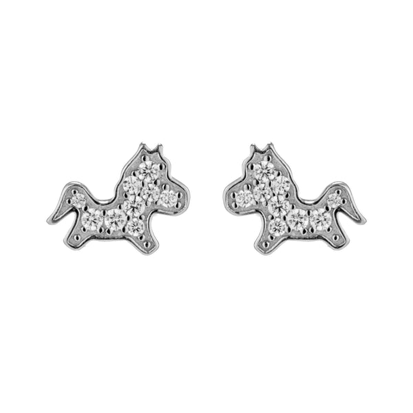 Petite Lively Horse Stud Earrings in Sterling Silver