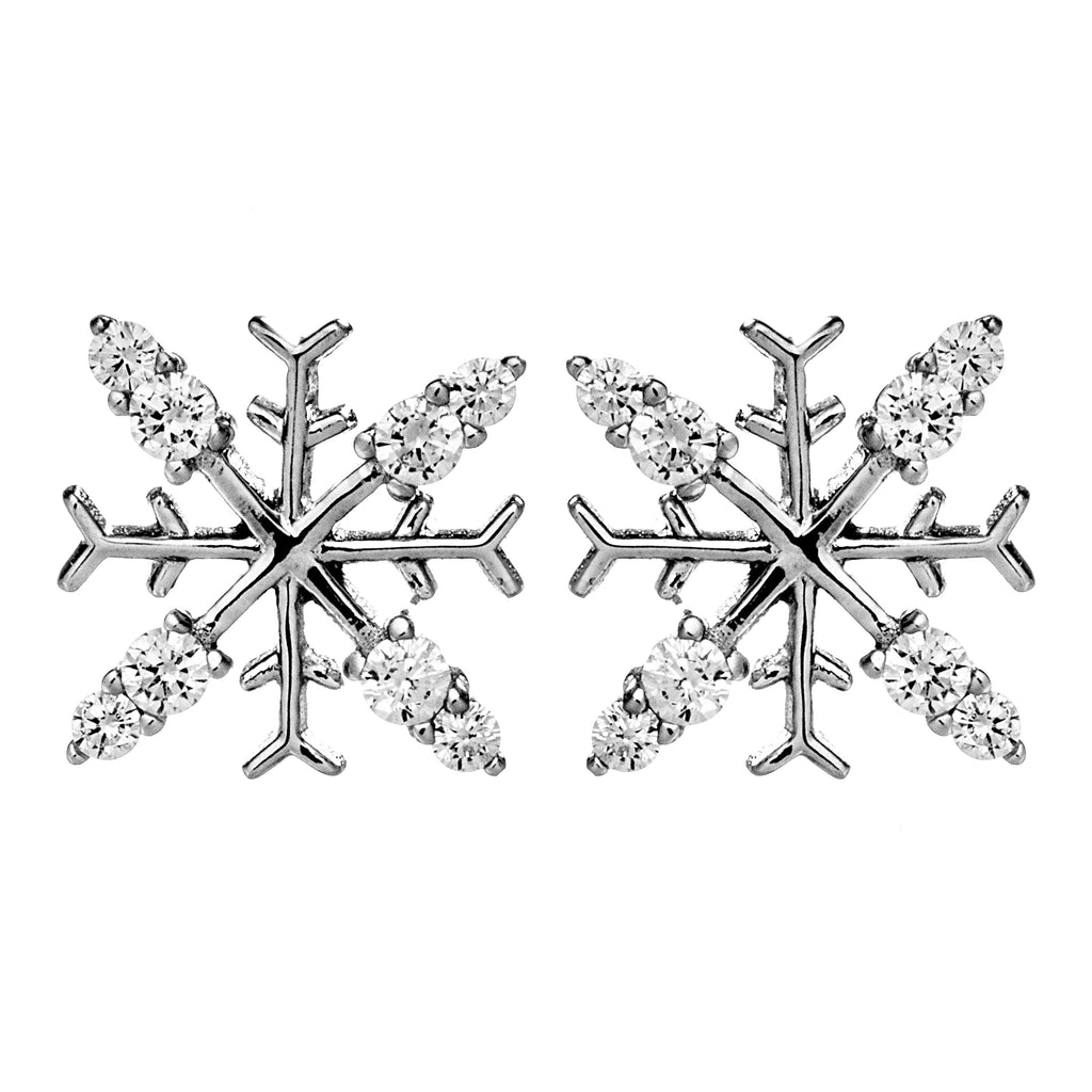 Snowflake Crystal Stud Earrings in Sterling Silver