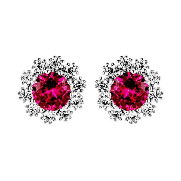Gorgeous Red Crystal Sun Flower Stud Earrings in Sterling Silver