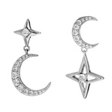 Moon & Star Crystal Drop Earrings in Sterling Silver