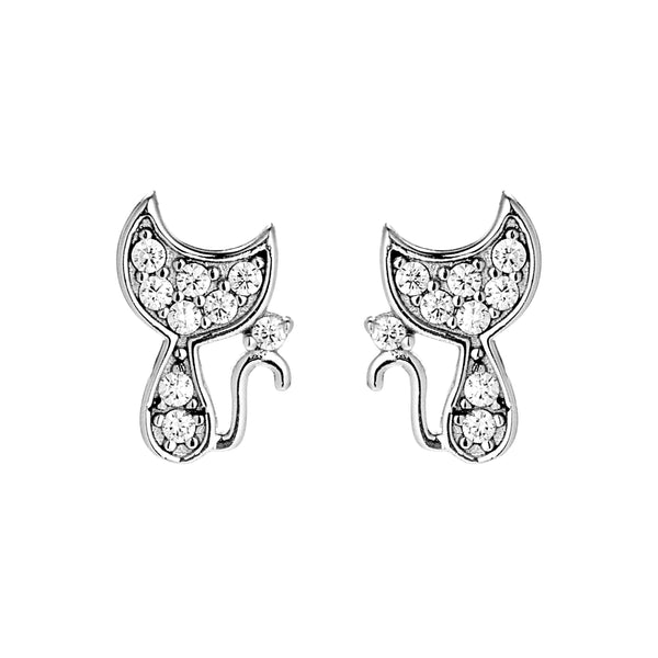 Cute Cat Kitten Kids Children Crystal Stud Earrings in Sterling Silver