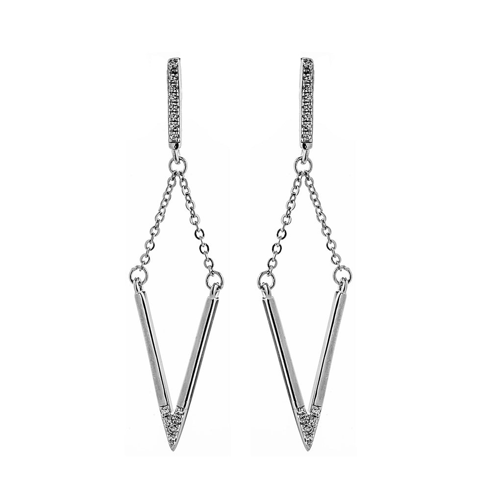 Rare Flowing V Shaped Drop Earrings in Sterling Silver