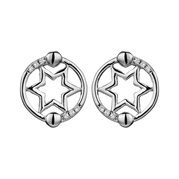 Hexagon Round Sterling Silver Stud Earrings