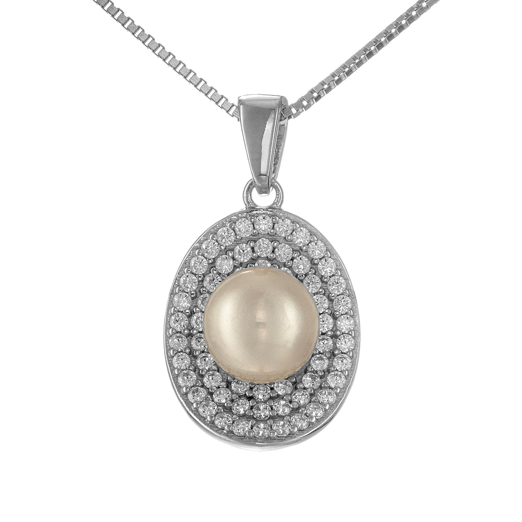 Gorgerous Shell Crystal Pendant Necklace with Mother of Pearl in Sterling Silver