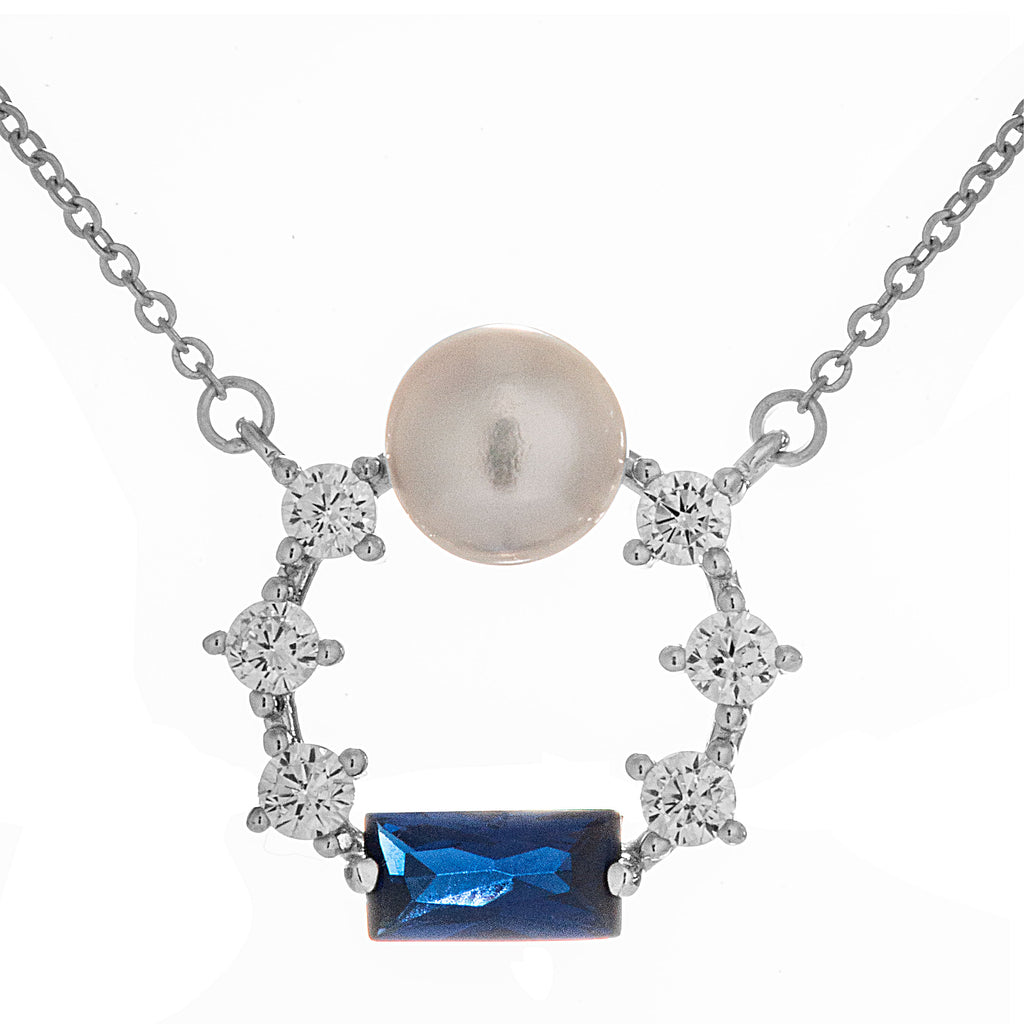 Galaxy Sparkling Circle Necklace with Blue & Clear Crystal, Mother of Pearl in Sterling Silver