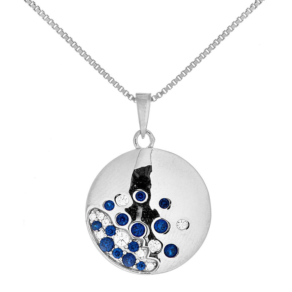 Secret Universe Necklace with Navy Blue CRYSTAL in Stelring Silver
