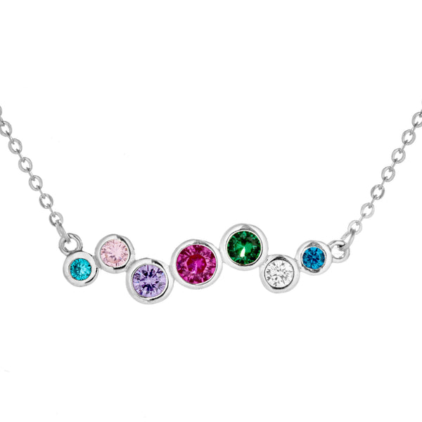 Multicolor Unique Wave Shaped Necklace With Blue, Green, Pink, Purple & Clear Crystal in Sterling SIlver