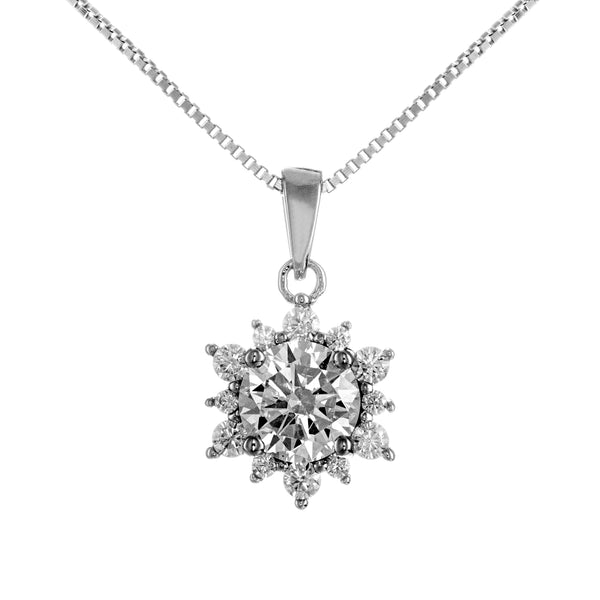 Rays of Sunshine Flower Sparkling Crystal Necklace in Sterling Silver