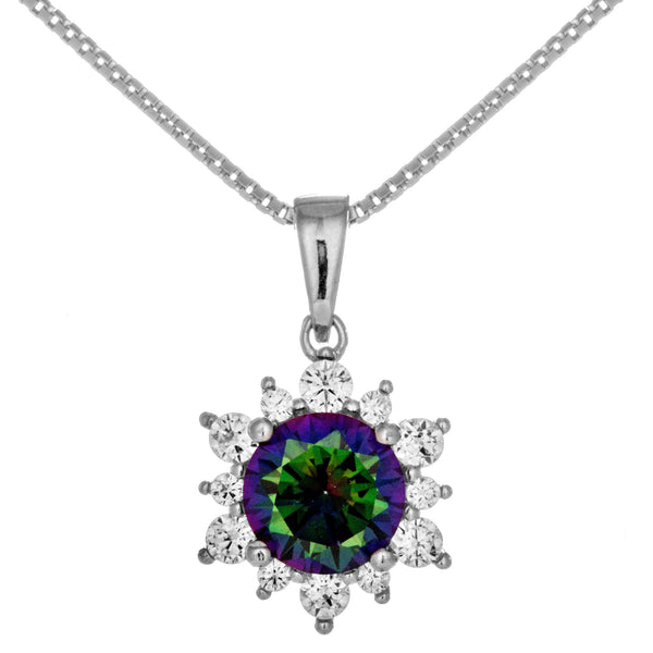 Dazzling Dark Purple Snowflake shaped Crystal Necklace in Sterling Silver