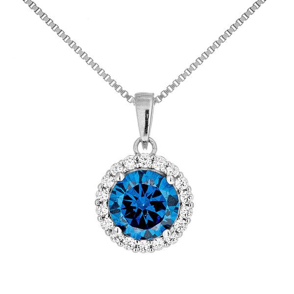 Round Double Halo Pendant Necklace with Sapphire Blue Crystal in Sterling Silver