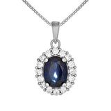 Oval Royal Blue Crystal Pendant Necklace in Sterling Silver