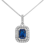 Royal Blue Square Cut Pendant Necklace in Sterling Silver