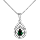 Triple Tear Drop Pendant Necklace with Emerald Green Crystal In Sterling Silver
