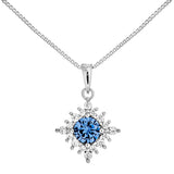 Classic Snowflake Pendant Necklace with Purple Crystal in Sterling Silver