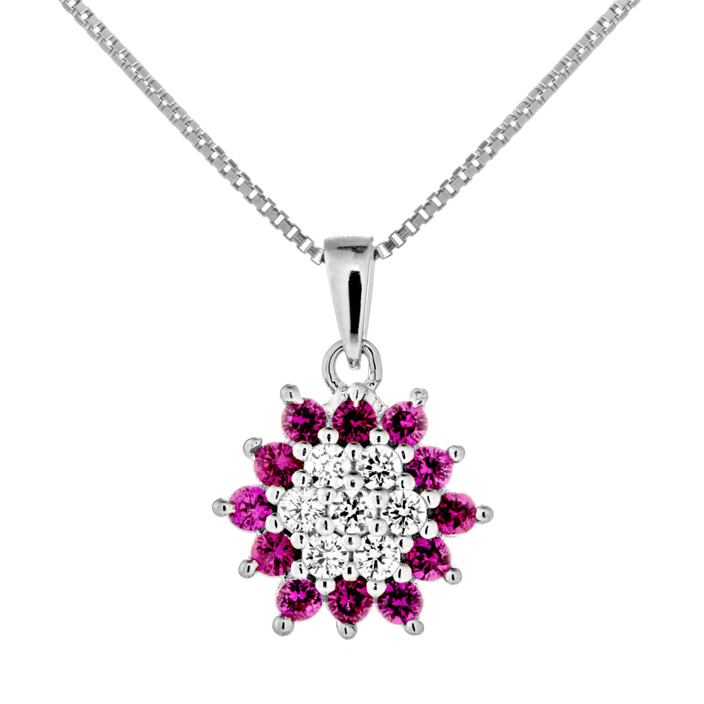 Flower Pistil Shaped Necklace with Pink Crystal in Sterling Silver