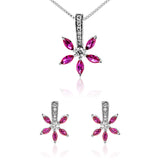 Romantic Flower Branch Stud Earrings & Necklace Set with Pink Crystal in Sterling Silver