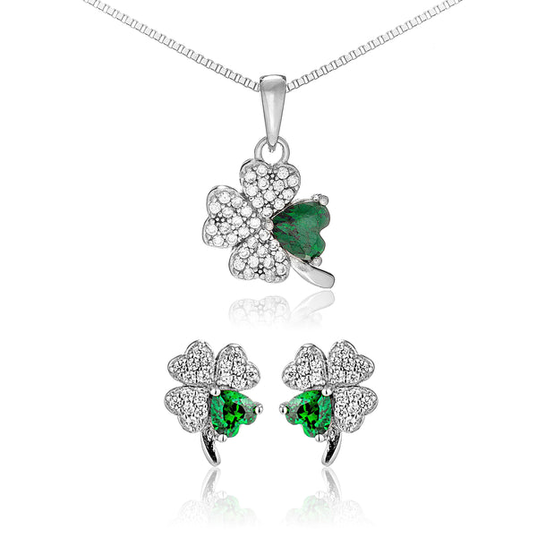 Lucky Clover Stud Earrings & Necklace Set with Emerald Green Crystal in Sterling Silver