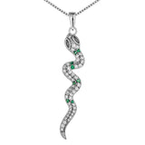 Embellished Fancy Snake Animal Pendant Necklace with Green & Clear Crystal In Sterling SIlver