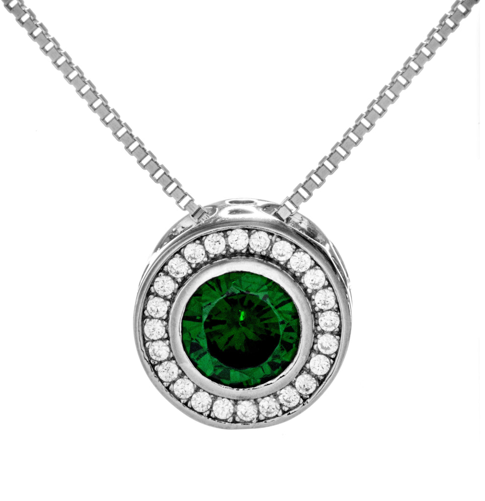 May Birthstone Necklace with Emerald Green Crystal in Sterling Silver