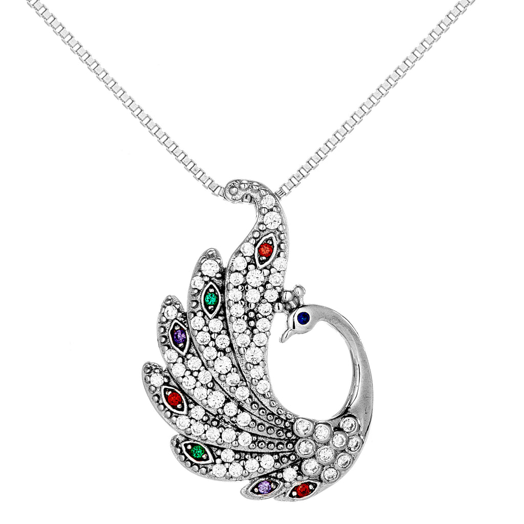 Multicolor Peacock Pendant Necklace With Red, Green, Purple & Clear Crystal in Sterling Silver
