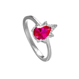 Flame Shaped Ring with Pink Crystal in Sterling Silver