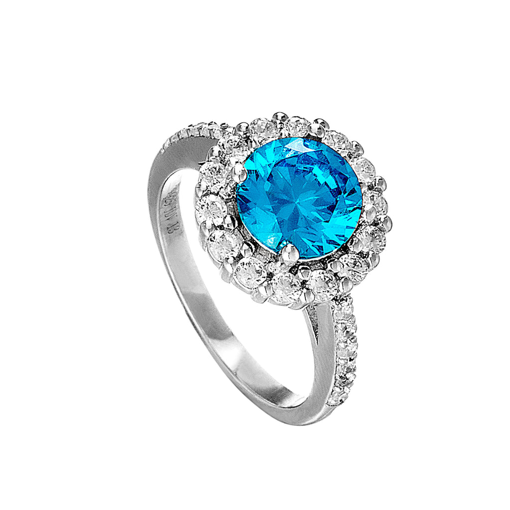 March Bithstone Halo Ring with Aquamarine Blue Crystal in Sterling Silver