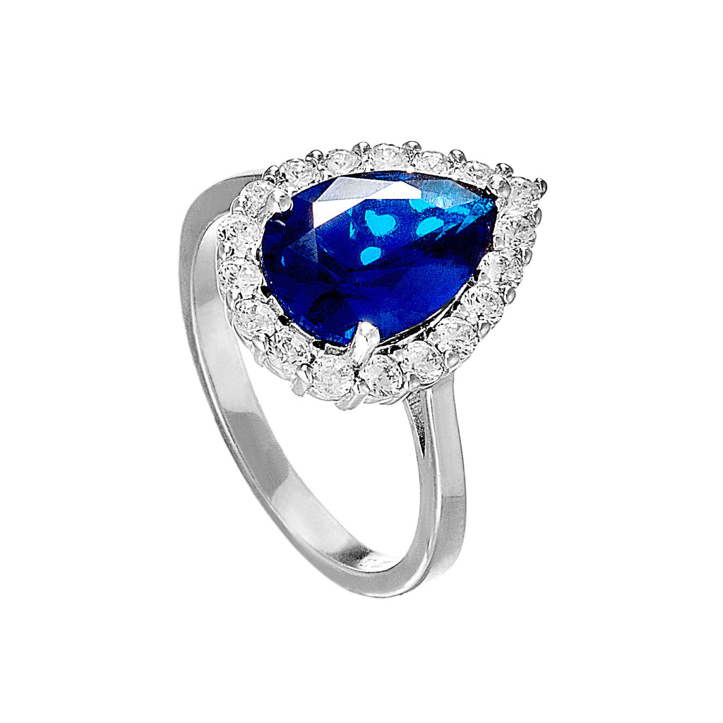 Sapphire Blue Crystal Tear Drop Ring in Sterling Silver