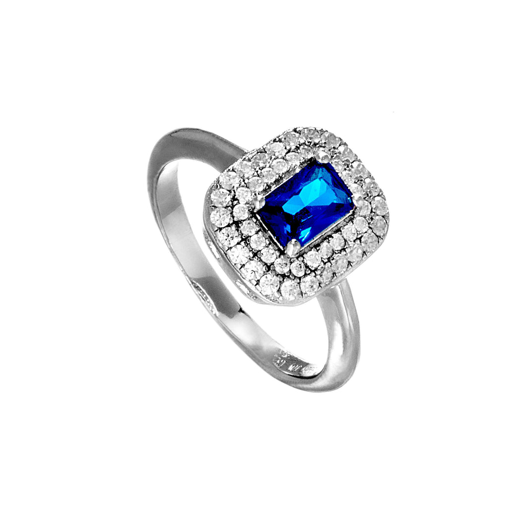Elegant Square Blue & Sparkling Clear Crystal Ring In Sterling Silver