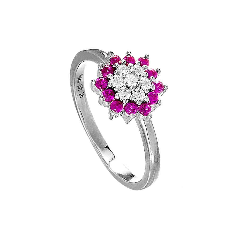 Flower Stamen Shaped Ring with Pink Crystal in Sterling Silver