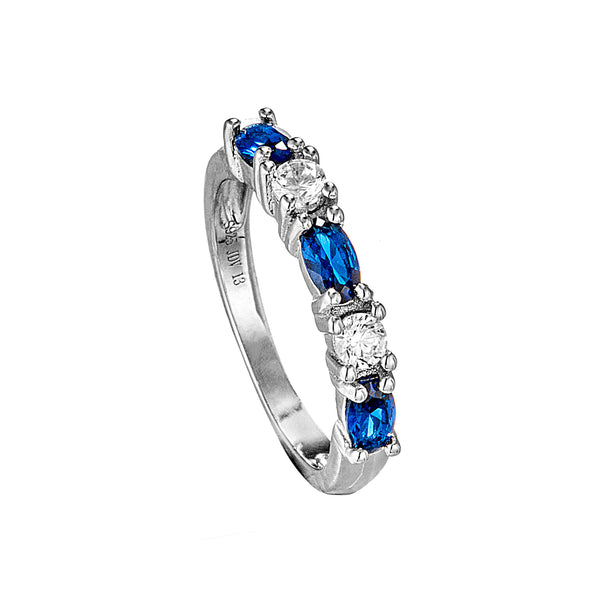 Classical Blue & Clear Crystal Ring in Sterling Silver