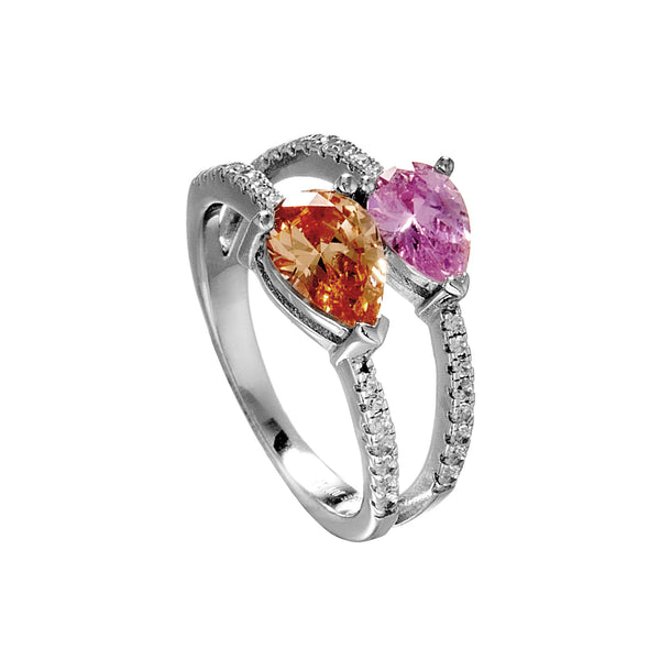 Double Heart Two Crystal Stone Ring with Pink & Champigne Crystal in Sterling Silver